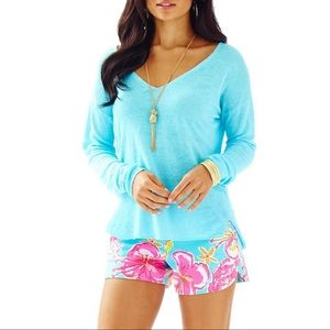 LILLY PULITZER Taryn Sweater Linen Blue XXS Long V